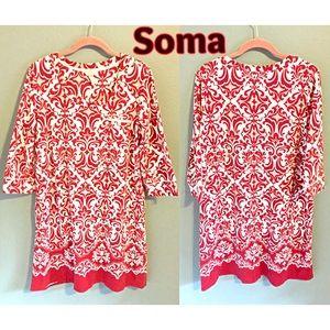 Soma T-shirt Dress or Sleep Shirt Large Red White